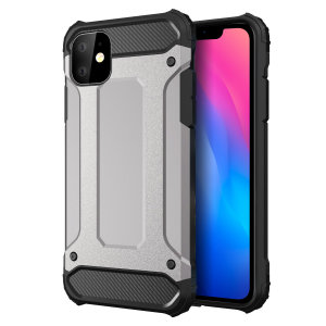 Protect your iPhone 11 from bumps and scrapes with this silver Delta Armour case from Olixar. Comprised of an inner TPU section and an outer impact-resistant exoskeleton.