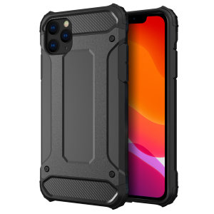 Protect your iPhone 11 Pro Max from bumps and scrapes with this black Delta Armour case from Olixar. Comprised of an inner TPU section and an outer impact-resistant exoskeleton.