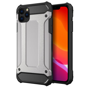 Protect your iPhone 11 Pro Max from bumps and scrapes with this silver Delta Armour case from Olixar. Comprised of an inner TPU section and an outer impact-resistant exoskeleton.