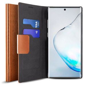 Protect your Samsung Galaxy Note 10 with this durable and stylish brown leather-style wallet case by Olixar. What's more, this case transforms into a handy stand to view media.
