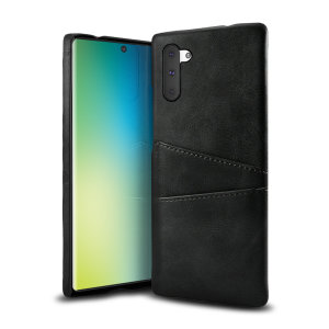 Designed for the Samsung Galaxy Note 10, this black executive leather-style case from Olixar provides a perfect fit and durable protection against scratches, knocks and drops with the added convenience of 2 RFID protected credit card-sized slots.