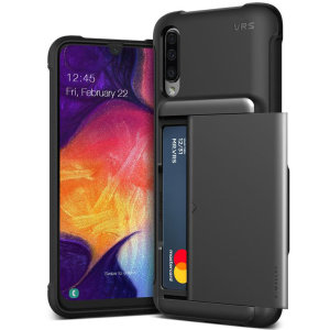 Protect your  with this precisely designed Samsung Galaxy A50 case in Black from VRS Design. Made with tough yet slim material, this hardshell construction with soft core features patented sliding technology to store two credit cards or ID.