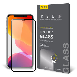 This ultra-thin tempered glass full cover screen protector for the Apple iPhone 11 Pro Max from Olixar with black front offers edge to edge toughness, high visibility and sensitivity all in one package.