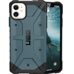 The UAG Pathfinder Slate Case for the iPhone 11 features a classic tough-looking, composite design with a soft impact-absorbing core and hard exterior that provides superb protection in all situations.