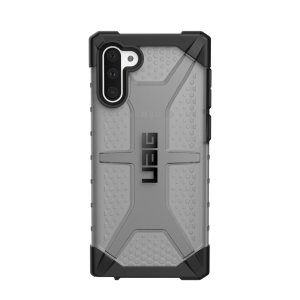 The Urban Armour Gear Plasma semi-transparent tough case in Ash grey and black for the Samsung Galaxy Note 10 features a protective case with a brushed metal UAG logo insert for an amazing rugged and stylish design.