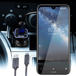 Keep your Nokia 2.2 fully charged on the road with this compatible Olixar high power dual USB 3.1A Car Charger with an included high quality USB to Micro-USB charging cable.