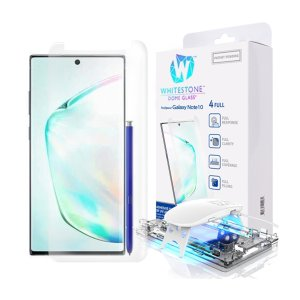The Whitestone Dome Glass screen protector for Galaxy Note 10 uses a UV lamp with a proprietary UV adhesive installation to ensure a total and perfect fit for your device. Featuring 9H hardness for absolute protection, as well as 100% touch sensitivity.