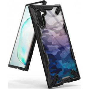 Keep your Samsung Galaxy Note 10 protected from bumps and drops with the Rearth Ringke Fusion X Design tough case in Camo Black. Featuring a 2-part, Polycarbonate design, this case lives up to military drop-test standards.