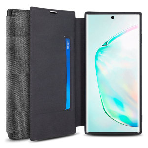 Protect your Samsung Galaxy Note 10 Plus 5G with this durable and stylish grey canvas case by Olixar. What's more, for convenience this case transforms into a stand to view media and includes a card slot.