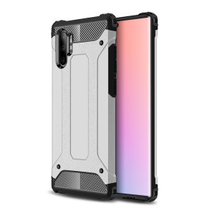 Protect your Samsung Note 10 Plus 5G from bumps and scrapes with this silver Delta Armour case from Olixar. Comprised of an inner TPU section and an outer impact-resistant exoskeleton.