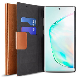 Protect your Samsung Galaxy Note 10 Plus 5G with this durable and stylish brown leather-style wallet case by Olixar. What's more, this case transforms into a handy stand to view media.
