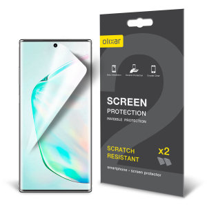 Keep your Samsung Galaxy Note 10 Plus 5G screen in pristine condition with this Olixar scratch-resistant screen protector 2-in-1 pack.