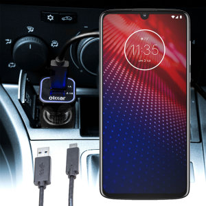 Keep your Motorola Moto Z4 fully charged on the road with this compatible Olixar high power dual USB 3.1A Car Charger with an included high quality  1m USB to USB-C charging cable.