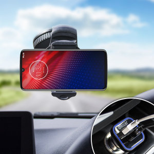 Essential items you need for your smartphone during a car journey all within the Olixar DriveTime In-Car Pack. Featuring a robust one-handed phone car mount and car charger with an additional USB port for your Motorola Moto Z4.