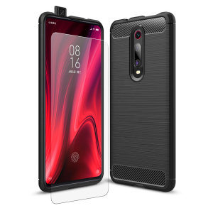 Flexible rugged casing with a premium matte finish non-slip carbon fibre and brushed metal design, the Olixar Sentinel case in black keeps your Xiaomi Redmi K20 Pro protected from 360 degrees with the added bonus of a tempered glass screen protector