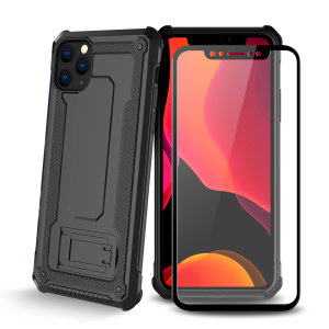 Equip your iPhone 11 Pro with a 360 degree protection with this new black Olixar Manta case & glass screen protector bundle. Enjoy a built-in kickstand designed for media viewing, whilst also compliments the case's futuristic & rugged military design.