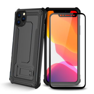 Equip your iPhone 11 Pro Max with a 360 degree protection with this new black Olixar Manta case & glass screen protector bundle. Enjoy a built-in kickstand designed for media viewing, whilst also compliments the case's futuristic & rugged military design.