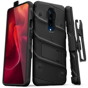 Equip your OnePlus 7 Pro 5G with military grade protection and superb functionality with the ultra-rugged Bolt case in black from Zizo. Coming complete with a handy belt clip and integrated kickstand.