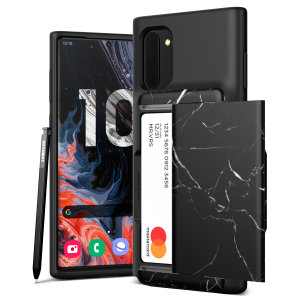 Protect your Note 10 with this precisely designed Damda Glide Shield case in Marble Black from VRS Design. Made with tough yet slim material, this hard-shell construction with soft core features patented sliding technology to store two credit cards or ID.