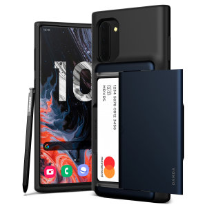 Protect your Samsung Galaxy Note 10 with this precisely designed Damda Glide Shield case in Deep Sea Blue from VRS Design. This hard-shell, tough yet slim, construction comes with soft core features patented sliding technology to store two credit cards.
