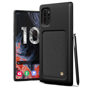 Protect your Note 10 Plus with this precisely designed High Pro Shield case in Sand Stone from VRS Design. Made with tough yet slim material, this hard-shell construction with soft core features patented sliding technology to store two credit cards or ID.