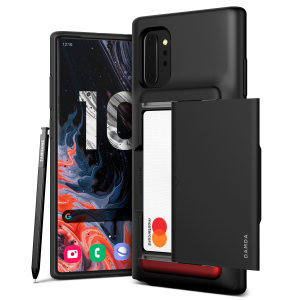 Protect your Note 10 Plus with this precisely designed Damda Glide Shield case in matt black from VRS. Made with tough yet slim material, this hard-shell construction with soft core features patented sliding technology to store two credit cards or ID.