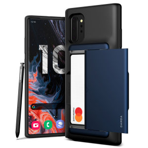 Protect your Note 10 Plus with this precisely designed Damda Glide Shield case in Deep Sea Blue from VRS. Made with tough yet slim material, this hard-shell construction with soft core features patented sliding technology to store two credit cards or ID.