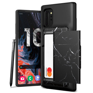 Protect your Note 10 Plus with this precisely designed Damda Glide Shield case in Black Marble from VRS. Made with tough yet slim material, this hard-shell construction with soft core features patented sliding technology to store two credit cards or ID.