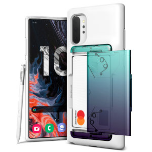 Protect your Note 10 Plus with this precisely designed Damda Glide Shield case in Green/Purple from VRS. Made with tough yet slim material, this hard-shell construction with soft core features patented sliding technology to store two credit cards or ID.