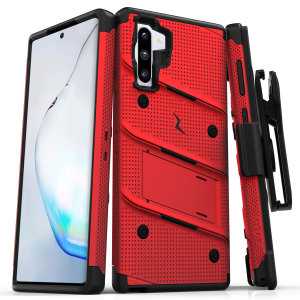 Equip your Samsung Galaxy Note 10 with military grade protection and superb functionality with the ultra-rugged Bolt case in red and black from Zizo. Coming complete with a handy belt clip and integrated kickstand.