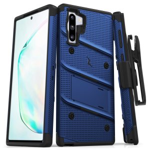 Equip your Samsung Galaxy Note 10 with military grade protection and superb functionality with the ultra-rugged Bolt case in blue and black from Zizo. Coming complete with a handy belt clip and integrated kickstand.