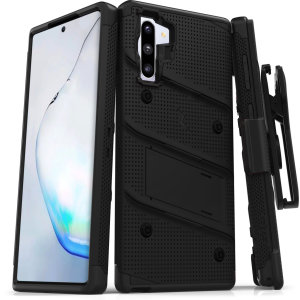 Equip your Samsung Galaxy Note 10 with military grade protection and superb functionality with the ultra-rugged Bolt case in black from Zizo. Coming complete with a handy belt clip and integrated kickstand.