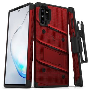 Equip your Samsung Galaxy Note 10 Plus with military grade protection and superb functionality with the ultra-rugged Bolt case in red and black from Zizo. Coming complete with a handy belt clip and integrated kickstand.