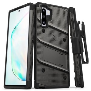 Equip your Samsung Galaxy Note 10 with military grade protection and superb functionality with the ultra-rugged Bolt case in Gunmetal from Zizo. Coming complete with a handy belt clip and integrated kickstand.