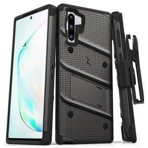Mantenga perfectamente protegido el Samsung Galaxy Note 10 Plus gracias a este pack de funda y protector de pantalla Zizo Bolt. También incluye pinza de cinturón.