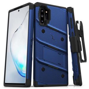 Equip your Samsung Galaxy Note 10 Plus with military grade protection and superb functionality with the ultra-rugged Bolt case in blue/black from Zizo. Coming complete with a handy belt clip and integrated kickstand.
