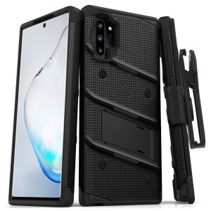 Equip your Samsung Galaxy Note 10 Plus with military grade protection and superb functionality with the ultra-rugged Bolt case in black from Zizo. Coming complete with a handy belt clip and integrated kickstand.