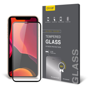 This ultra-thin tempered glass full cover screen protector for the Apple iPhone 11 Pro from Olixar with black front offers edge to edge toughness, high visibility and sensitivity all in one package.