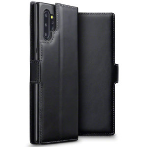 All the benefits of a wallet case but far more streamlined. The Olixar Genuine Leather case in black is the perfect partner for the the Samsung Galaxy Note 10 Plus owner on the move. What's more, this case transforms into a handy stand to view media.