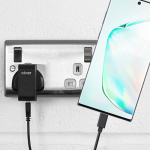 Charge your Samsung Galaxy Note 10 Plus and any other USB device quickly and conveniently with this compatible 2.5A high power USB-C UK charging kit. Featuring a UK wall adapter and a 1m USB-C cable.
