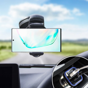 Essential items you need for your smartphone during a car journey all within the Olixar DriveTime In-Car Pack. Featuring a robust one-handed phone car mount and car charger with an additional USB port for your Samsung Galaxy Note 10 Plus 5G.