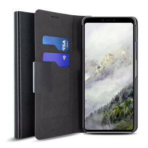 Protect your Google Pixel 4 with this durable and stylish black leather-style wallet case from Olixar, featuring two card slots. What's more, this case transforms into a handy stand to view media.
