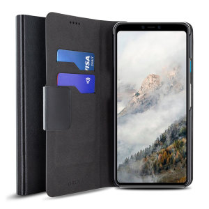Protect your Google Pixel 4 XL with this durable and stylish black leather-style wallet case from Olixar, featuring two card slots. What's more, this case transforms into a handy stand to view media.