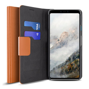Protect your Google Pixel 4 XL with this durable and stylish tan leather-style wallet case by Olixar. What's more, this case transforms into a handy stand to view media.