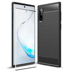 Flexible rugged casing with a premium matte finish non-slip carbon fibre and brushed metal design, the Olixar Sentinel case in black keeps your Samsung Note 10 black protected from 360 degrees with the added bonus of a tempered glass screen protector.