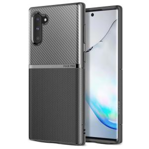 The Obliq Flex Pro Shell Case in black is a stylish and ergonomic protective case for the Samsung Galaxy Note 10, providing impact absorption and fantastic grip due to its textured surface design.