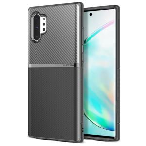 The Obliq Flex Pro Shell Case in black is a stylish and ergonomic protective case for the Samsung Galaxy Note 10 Plus, providing impact absorption and fantastic grip due to its textured surface design.