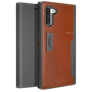The K3 Wallet Case in Grey/Brown for the Samsung Galaxy Note 10 comes complete with card slots, a large document pocket and is made with luxurious leather-style materials for a classic, prestige and professional look.