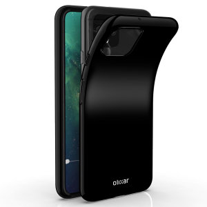 Custom moulded for the Google Pixel 4 XL, this solid black Olixar FlexiShield case provides slim fitting and durable protection against damage..