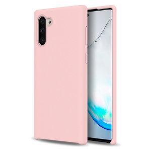 Tilpasset støpt til Samsung Galaxy Note 10, denne pastellrosa myke silikonetui fra Olixar gir utmerket beskyttelse mot skade og en slank passform for ekstra bekvemmelighet.